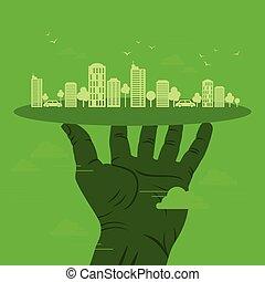 verde, conceito, ecologia, earth-