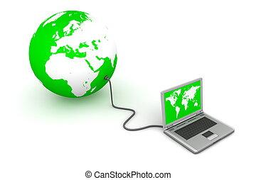 verde, conectado, mundo