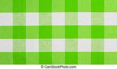 verde, controllato, tessuto, tovaglia