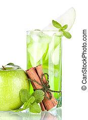 verde, coquetel, com, maçãs, hortelã, e, canela