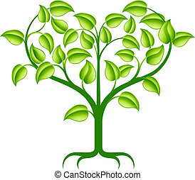 verde, coração, árvore, ilustração