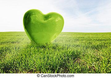 verde, corazón, en, el, herboso, field., amor, sano, ambiente, naturaleza