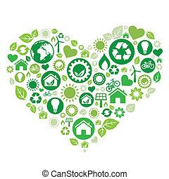verde, corazón