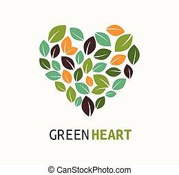 verde, corazón, -, vector, icono