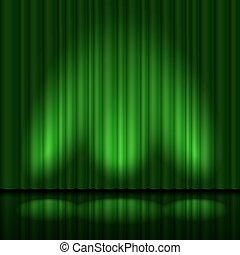 verde, cortinas