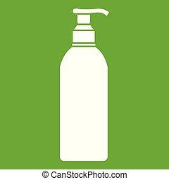 verde, cosmetico, bottiglia, icona
