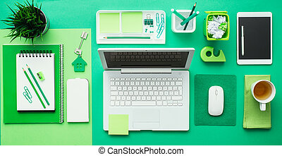 verde, creativo, escritorio