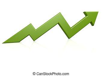 verde, crescimento, seta