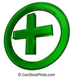 verde, cruz, en, círculo, salud, símbolo