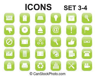 verde, cuadrado, redondeado, iconos