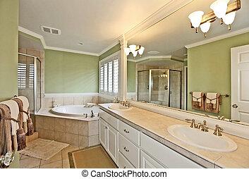 verde, cuarto de baño