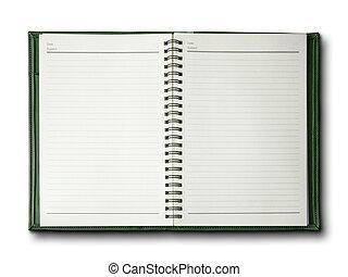 verde, cubierta, cuaderno