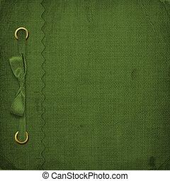 verde, cubierta, para, un, álbum, con, fotos