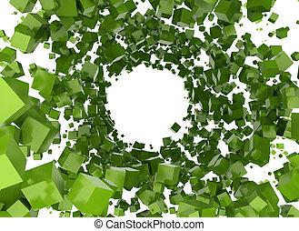 verde, cubos, resumen, plano de fondo