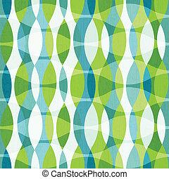 verde, curvas, seamless, patrón, con, grunge, efecto