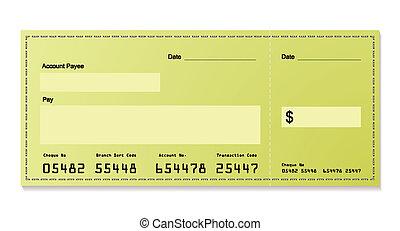 verde, dólar, cheque