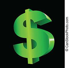 verde, dólar, em, 3d, vetorial, logotipo