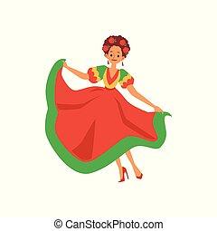 verde, dela, mulher, cabelo vermelho, dançarino, flores, vestido, mexicano