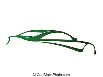 verde, deporte, súper, automóvil