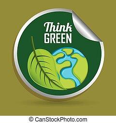 verde, desenho, pensar