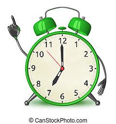 verde, despertador, con, idea