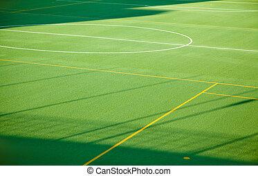 verde, desporto, futebol, campo grama, para, múltiplo, esportes