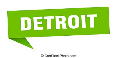 verde, detroit, sticker., poste indicador, señal, indicador
