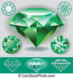 verde, diamante, piedra preciosa, esmeralda