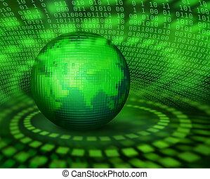 verde, digitale, pixel, pianeta