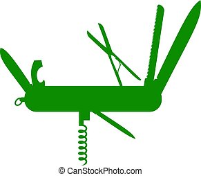 verde, diseño, multifunctional, silueta, cuchillo