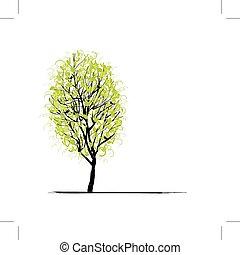 verde, disegno, albero, giovane, tuo