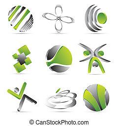 verde, disegno, icone affari