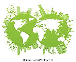verde, e, ambiente, pianeta