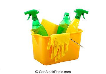 verde, e, chimico, cleani