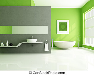 verde, e, cinzento, contemporâneo, banheiro