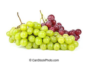 verde, e, cor-de-rosa, uvas, isolado, ligado, a, fundo...