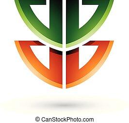 verde, e, laranja, escudo, semelhante, forma, de, letra b, vetorial, ilustração