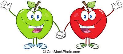 verde, e, maçãs vermelhas