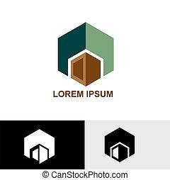 verde, e, marrone, cubo, logotipo