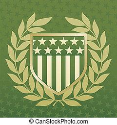 verde, e, ouro, escudo, ligado, um, estrela, fundo