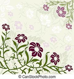 verde, e, roxo, floral, fundo