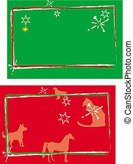 verde, e, vermelho, cartões