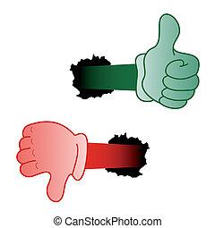 verde, e, vermelho, mão