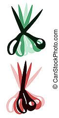 verde, e, vermelho, tesouras