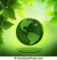 verde, earth., abstratos, ambiental, fundos
