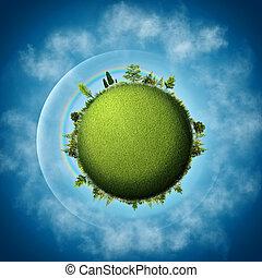 verde, earth., abstratos, eco, fundos, sobre, céus azuis, e, nuvens