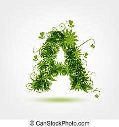 verde, eco, carta um, para, seu, desenho