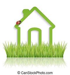 verde, eco, casa