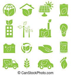 verde, eco, y, ambiente, iconos