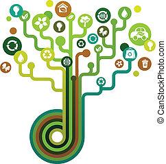 verde, ecológico, árvore, ícones